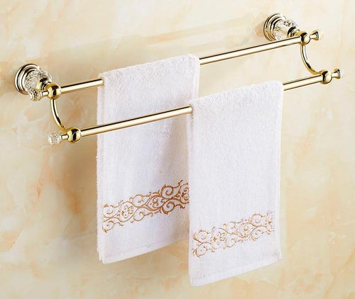 Gold Double Towel Bar Towel Holder Solid Brass Jade Crystal Wall Mounted