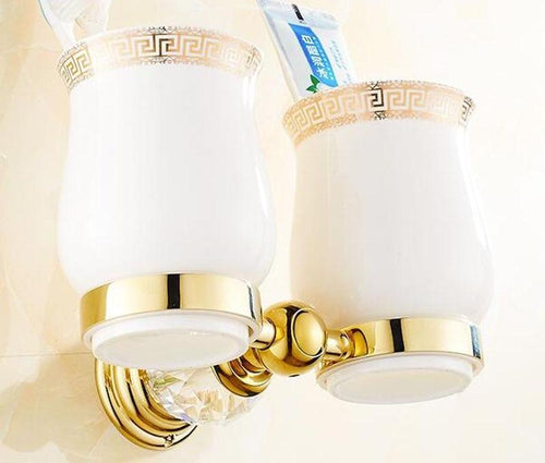 Golden and Jade Bathroom Cup & Tumbler Holder Wall Mounted Double Toothbrush Rack