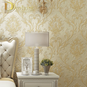 Luxury Simple European 3D Striped Damask Wallpaper For Walls Decor