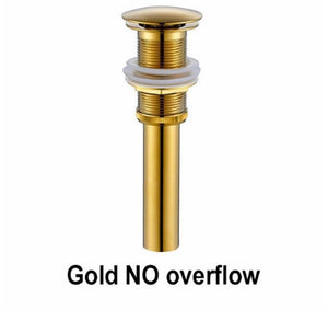 Brass Bathroom Sink Pop Up Drain With/Without Overflow Gold Finish