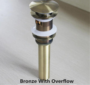 Brass Bathroom Sink Pop Up Drain With/Without Overflow Gold Finish - nativware.com