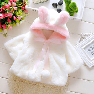 Gorgeous Newborn Baby Girl Thick Rabbit ears Winter Coat Cloak Jacket . - nativware.com
