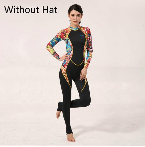 Women Lycra Wetsuit Fullbody Jumpsuit Hooded Dive Skins Full Body Rash Guards Fabric Surfing Suit