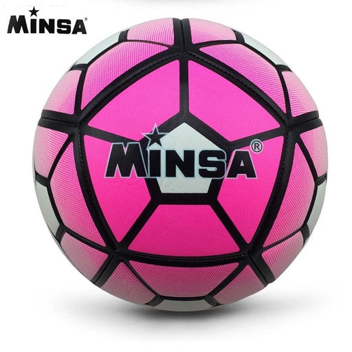 Minsa  Red color A+ Standard Soccer Ball PUTraining  Football Official Size 5 race dedicated