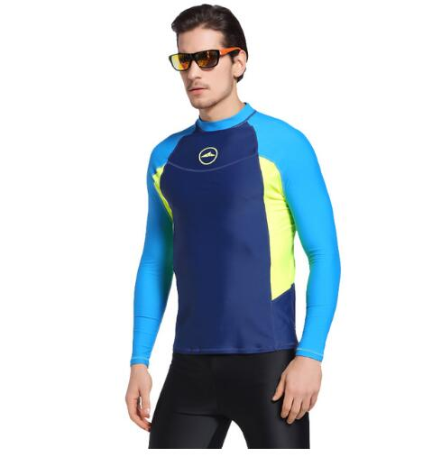 Long Sleeve Men Rash Guards Swimwear Shirts Lycra Sun Protective Wetsuit Tops Diving Snorkel Swimming Surfing