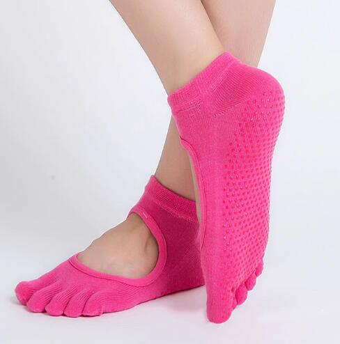 Women Yoga Socks Anti-slip Backless 5 Toe Socks