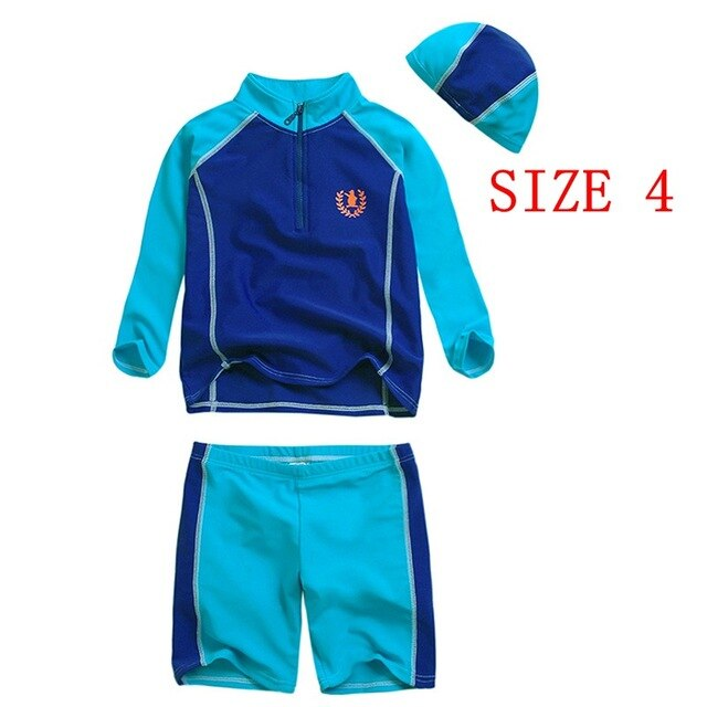 Boys Swimwear Sports Two Pieces Rash Guards Bathing Suit Long Sleeved Teenage Boy's Swimsuits