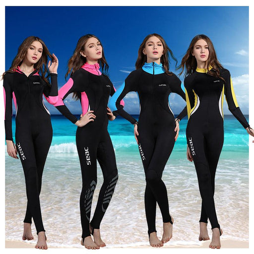 Women Wetsuits Swimwears Diving Suits Long Sleeves Surfing Rash Guards Snorkel Female One-Piece Conjoined Body Swimsuit