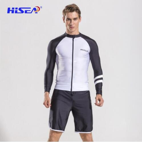 Long Sleeves Men Beach T-shirt Rash Guards Swimsuit