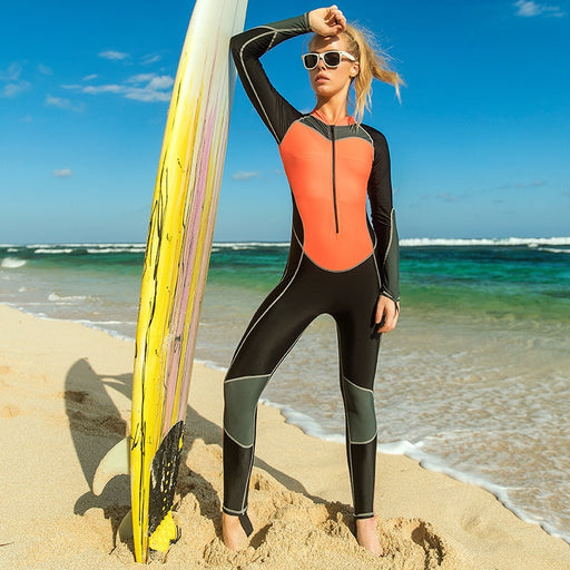 Sbart Thin Stretchy One Piece Rash Guards Women Long Sleeve Surfing Sailing Wakeboard Female Swimsuits Bathing Suits