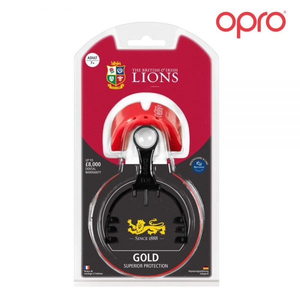 Opro Gold British & Irish Lions Mouthguard (Adult 7+) | Mouthguard | OproShield