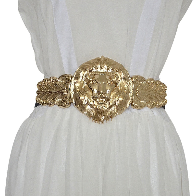 Golden Lion Head Metal Buckle Belt for Women