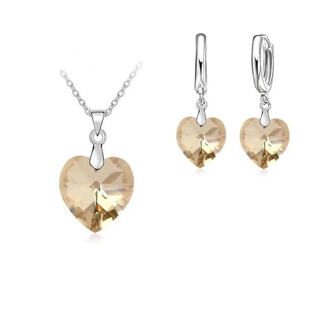 Shining Austrian Crystal Heart Jewelry Set