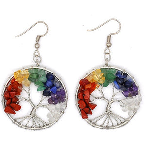 7 Chakra Tree of Life Earrings - Authenticblkwidow