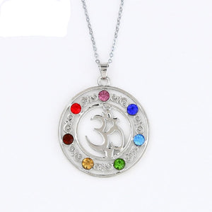 7 Chakra Crystal Beaded Pendant Necklace - Authenticblkwidow