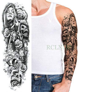 Geometric Design Full Arm Waterproof Temporary Tattoo Sticker - Authenticblkwidow