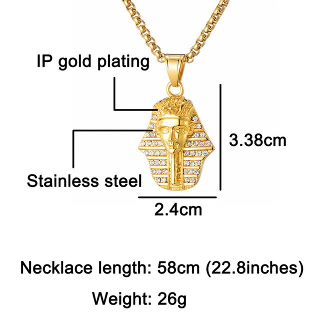 Ancient Egyptian Pharaoh Pendant Necklace - Authenticblkwidow