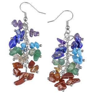 Healing Gem Stone Dangle Earrings - Authenticblkwidow
