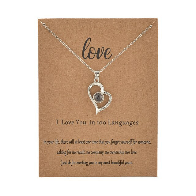 I love You in 100 Different Languages Heart Shaped Projection Necklace with Card - Authenticblkwidow