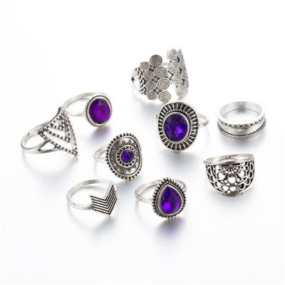 Gorgeous Purple 9 Piece Ring Set - Authenticblkwidow