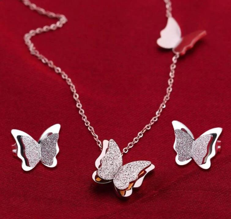 Stainless Steel Butterfly Earrings, Necklace and Jewelry Sets - Authenticblkwidow