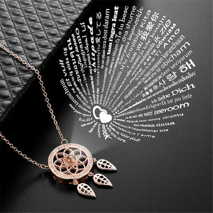 Dream Catcher 100 Languages I Love You Projection Pendant Necklace - Authenticblkwidow