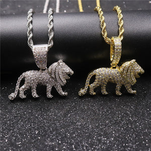 Iced Out Lion Pendant Necklace for Men or Women