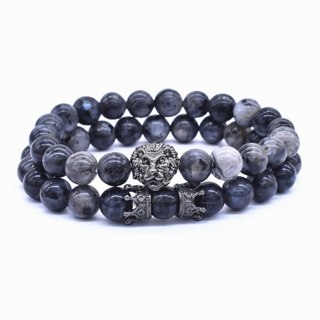 2 Pcs Lion Lava Stone Bracelet Set