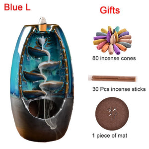 Ceramic Waterfall Smoke Incense Burner