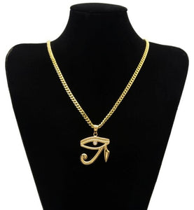 The Eye of Horus Charm Pendant with Cuban Chain