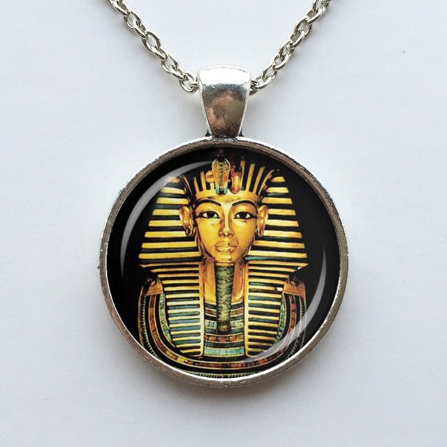 Egyptian Pharaoh Glass Dome Pendant Necklace