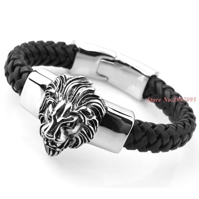Black Leather Vintage Lion Bangle - Authenticblkwidow