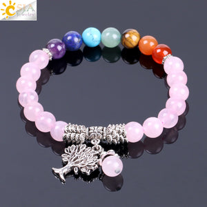 7 Chakra Crystal Quartz Tree of Life Bracelet - Authenticblkwidow