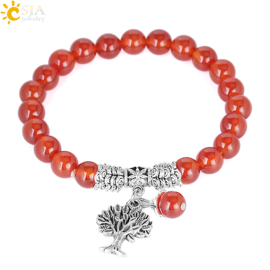 Red Onyx Tree of  Life Beaded Bracelet - Authenticblkwidow