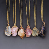 Natural Stone Rose Crystal Quartz Wire Wrapped Pendant Necklace