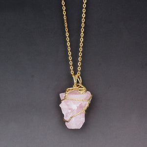 Natural Stone Rose Crystal Quartz Wire Wrapped Pendant Necklace - Authenticblkwidow