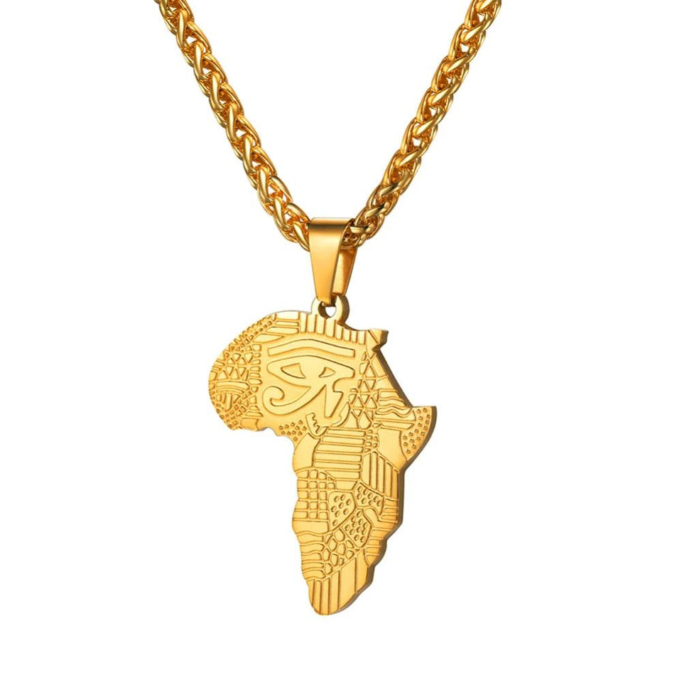 African Map - Eye Of Horus Pendant Necklace - Authenticblkwidow