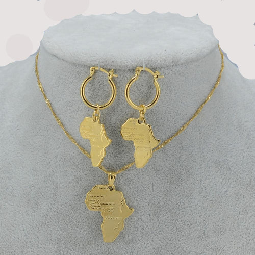 African Map Jewelry sets Necklace and Earrings