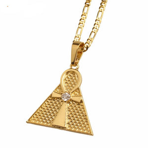 Egyptian Ankh & Pyramid Pendant Necklace - Authenticblkwidow