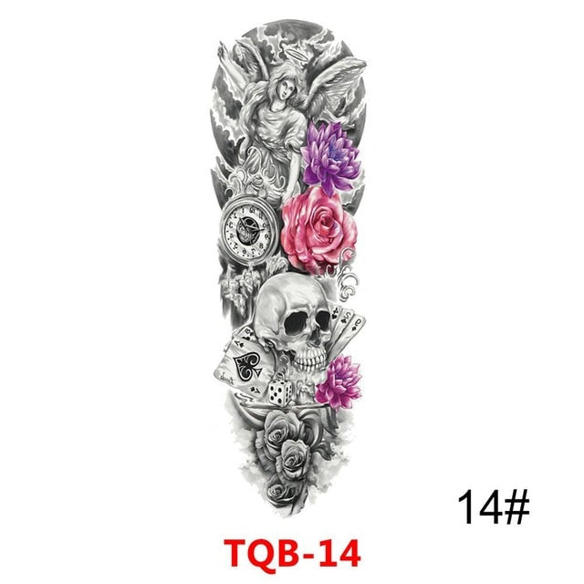 Full Arm Large Skull Temporary Tattoo Stickers - Authenticblkwidow