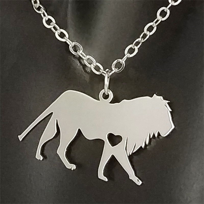 Stainless Steel Lion Pendant Necklace - Authenticblkwidow