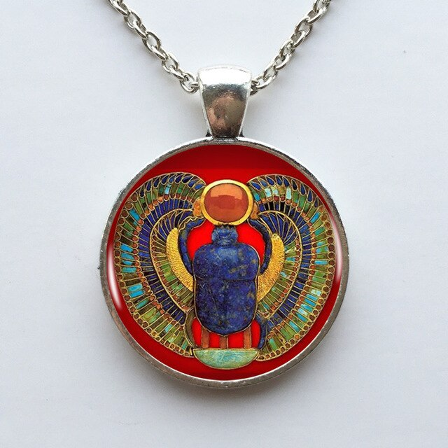 Egyptian Scarab Beetle Pendant Necklace