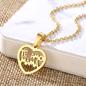 I Love You Mom Charm Necklace - Authenticblkwidow
