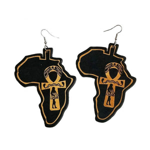 Africa Map Ankh Earrings - Authenticblkwidow