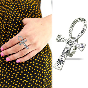 Vintage Egyptian Life Carved Ankh Cross Finger Ring For Women - Authenticblkwidow