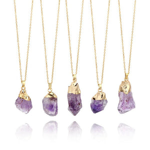 Natural Quartz Amethyst Gemstone Pendant Necklace - Authenticblkwidow