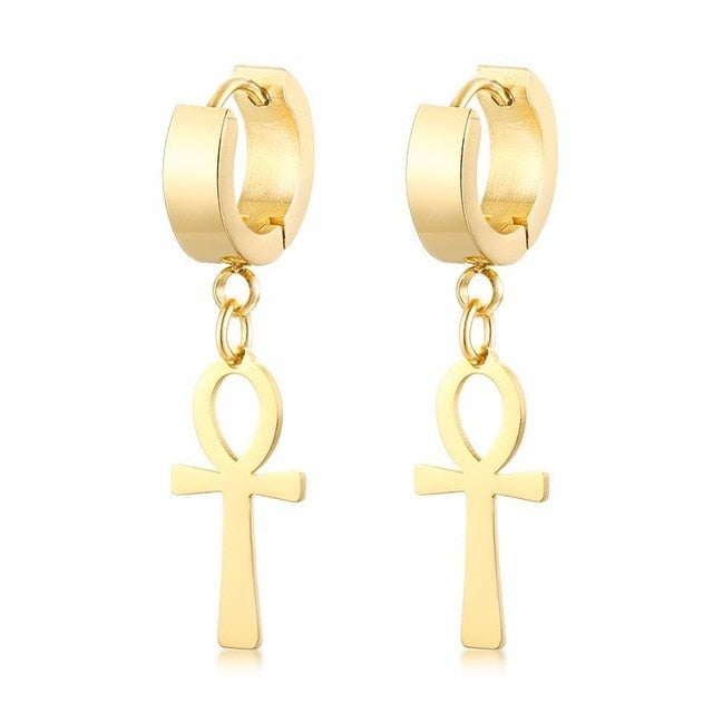 Egyptian Cleopatra Ankh Dangle Earrings for  Women