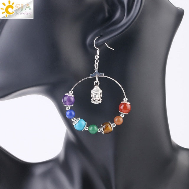 7 Chakra Tree of Life Drop Earrings Women Drop Earrings - Authenticblkwidow