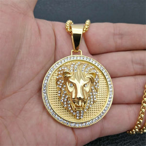 Iced Out Golden Lion Head Pendant Necklace