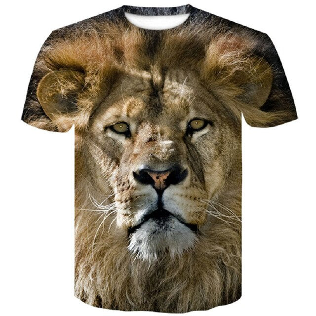 Lion 3D Print Black T Shirt